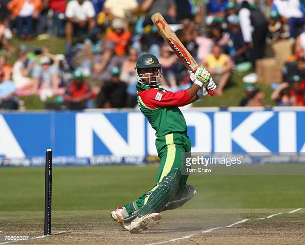Mashrafe Mortaza of Bangladesh hits out during the Twenty20 Cup Super Eights match between Bangladesh and Pakistan at Newlands Cricket Ground on...