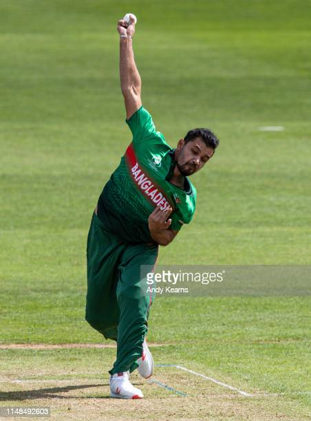 Mashrafe Mortaza of Bangladesh in delivery stride during the Group Stage match of the ICC Cricket World Cup 2019 between England and Bangladesh at...