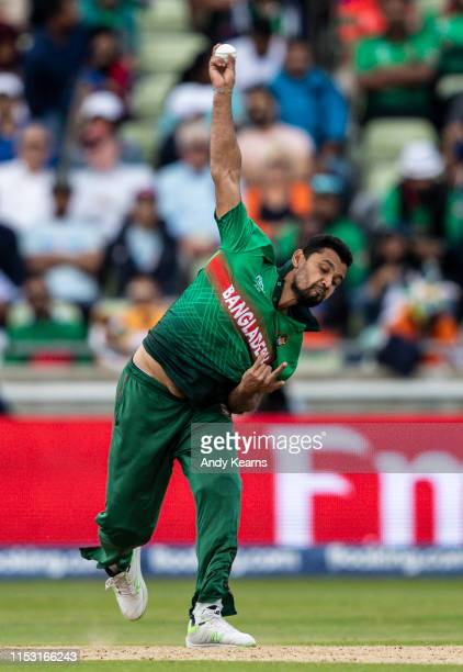 Mashrafe Mortaza of Bangladesh in delivery stride during the Group Stage match of the ICC Cricket World Cup 2019 between Bangladesh and India at...