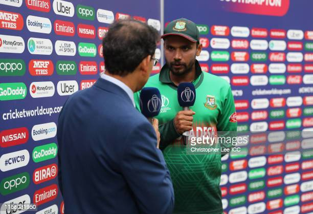 Mashrafe Mortaza of Bangladesh is interviewed during the Group Stage match of the ICC Cricket World Cup 2019 between Bangladesh and Afghanistan at...