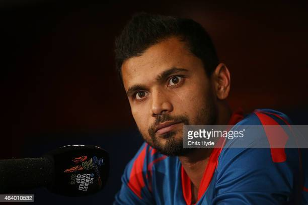 Mashrafe Mortaza of Bangladesh speaks at a press conference after the match was abandoned due to rain during the 2015 ICC Cricket World Cup match...