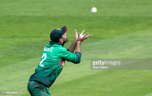 Mashrafe Mortaza of Bangladesh takes a catch to dismiss Jason Roy of England during the Group Stage match of the ICC Cricket World Cup 2019 between...