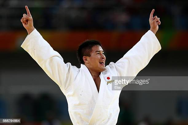 Mashu Baker of Japan celebrates after defeating Varlam Liparteliani of Georgia in the Men's 90kg Gold Medal bout on Day 5 of the Rio 2016 Olympic...