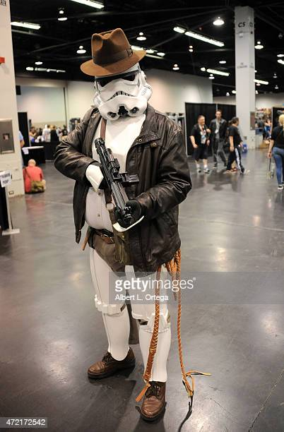 A mashup of a Storm Trooper and Indiana Jones from 'Raider of the Lost Ark' on Day Four of Disney's 2015 Star Wars Celebration held at the Anaheim...