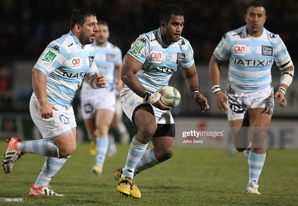 Masi Matadigo of Racing Metro 92 in action during the European Cup match between Racing Metro 92 and Edinburgh Rugby at the Stade Yves du Manoir on December 8, 2012 in Colombes nearby Paris, France.