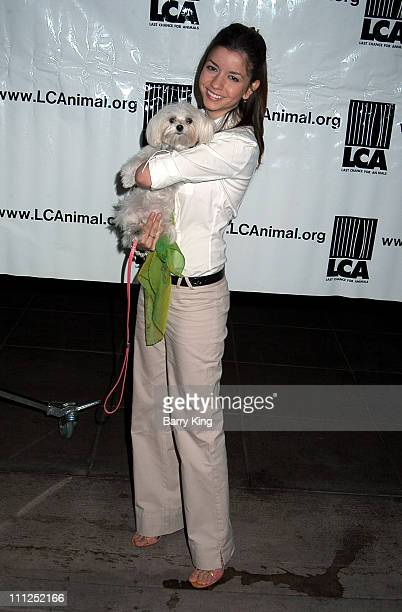 Masiela Lusha and Daisy during Last Chance For Animals Pet Theft Awareness Day 2004 at Third Street Promenade in Santa Monica California United States