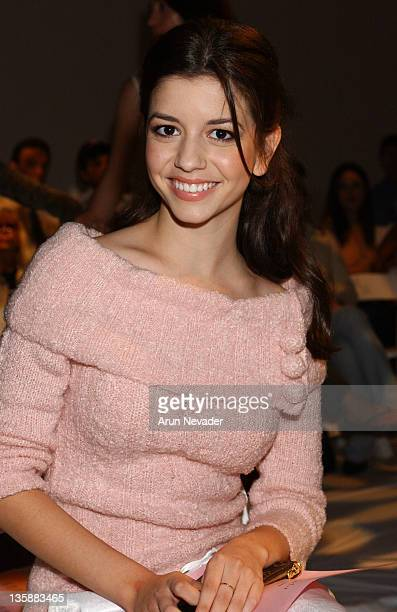 Masiela Lusha during Smashbox LA Fashion Week Spring 2004 Swhawn Front Row at Smashbox Studios in Culver City