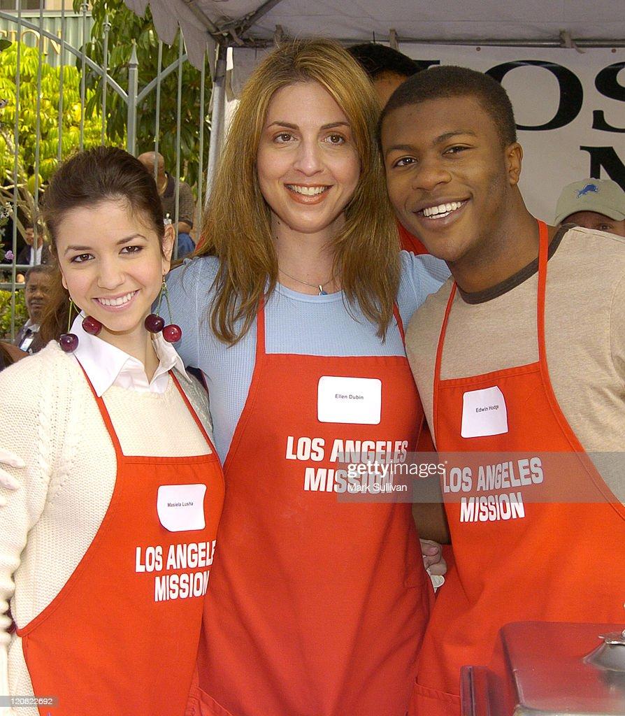 Masiela Lusha, Ellen Dubi and Edwin Hodge during Los Angeles Mission 2004 Easter Celebration at Downtown Los Angeles in Los Angeles, California, United States.