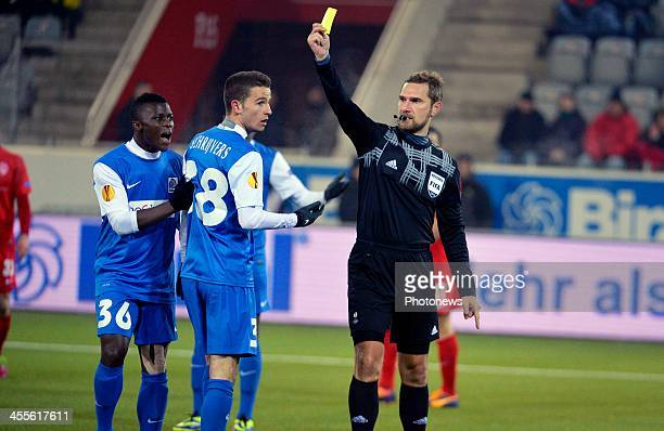 Masika Ayub of Krc Genk Siebe Schrijvers of Krc Genk Alexandru Dan Tudor Referee Arbitre Scheidsrechter during the UEFA Europa League group G match...