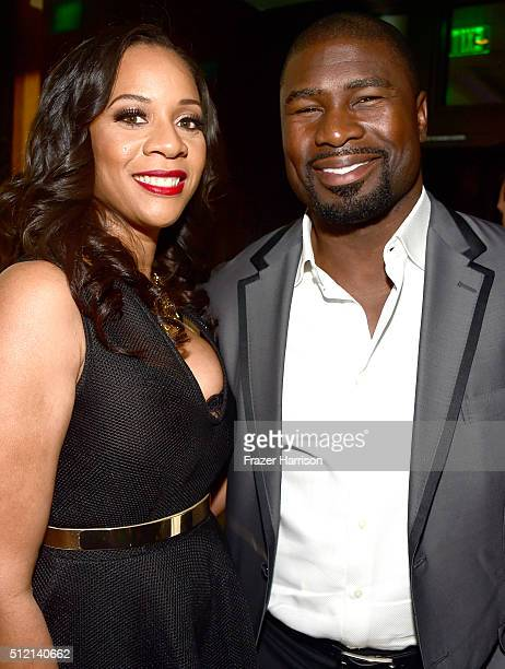 Masika Mughelli and former NFL player Ovie Mughelli attend Global Green USA's 13th annual preOscar party at Mr C Beverly Hills on February 24 2016 in...