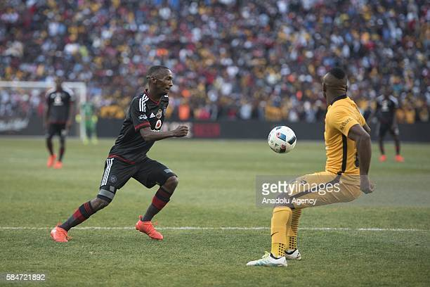 Masilela Tsepo of Orlando Pirates in action against Rakhale Thabo Kaizer Chiefs FC during 2016 Carling Black Label Cup between Kaizer Chiefs FC and...