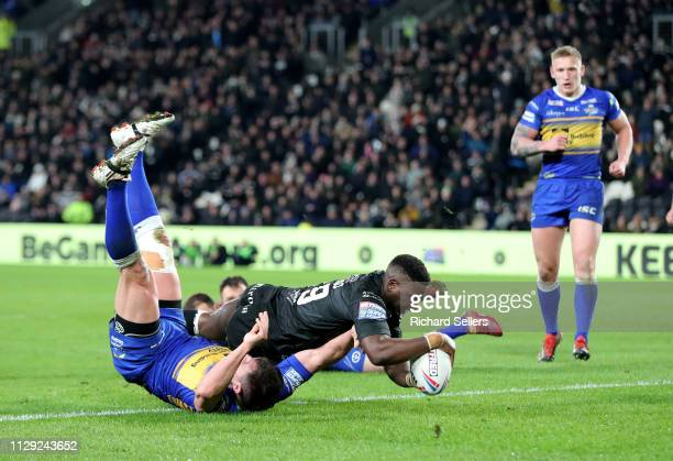 Masimbaashe Matongo of Hull Fc scores during the Hull FC v Leeds Rhinos during the Betfred Super League match at KCOM Stadium on March 8, 2019 in...
