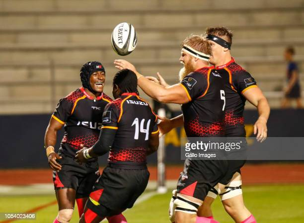 Masixole Banda of the Southern Kings and team mates celebrate a try being scored during the Guinness Pro14 match between Isuzu Southern Kings and...