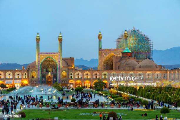 masjed-e imam mosque at sunset, maydam-e iman square, unesco world heritage site, esfahan, iran, middle east - イマーム寺院 ストックフォトと画像