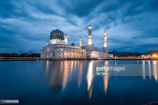 masjid bandaraya kota kinabalu - floating mosque stock pictures, royalty-free photos & images