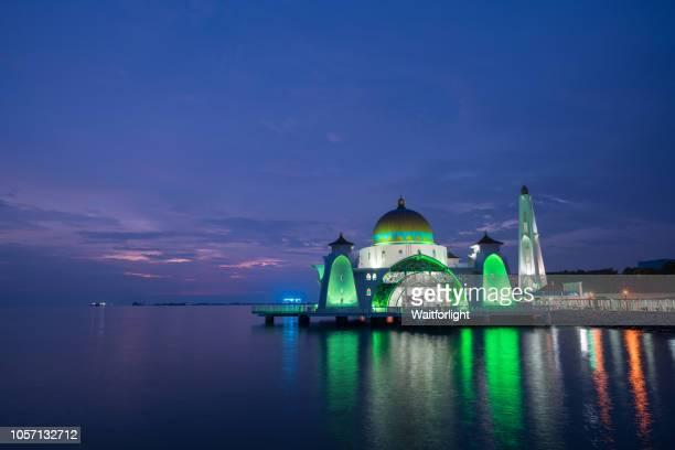 Masjid Selat Melaka at dusk,Malacca,Malaysia