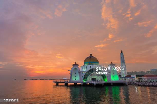 Masjid Selat Melaka at sunset,Malacca,Malaysia