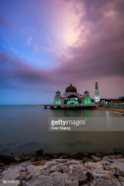Masjid (mosque) Selat Melaka in sunset.
