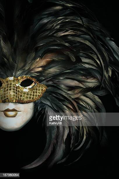 Mask and Feathers on Black