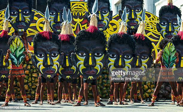 mask heads of dinagyang - dinagyang festival stock photos and pictures