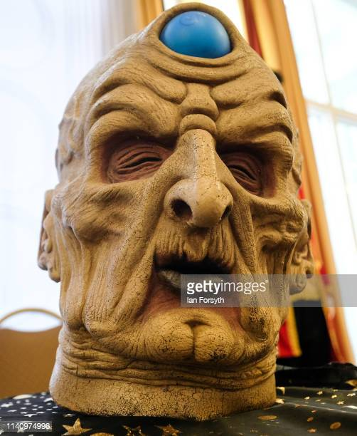Mask is displayed on a merchandise stall on the second day of the Scarborough Sci-Fi weekend held at the seafront Spa Complex on April 07, 2019 in...