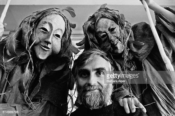 Mask maker Ralph Lee, director of the Greenwich Village Halloween Parade, 27th October 1983.