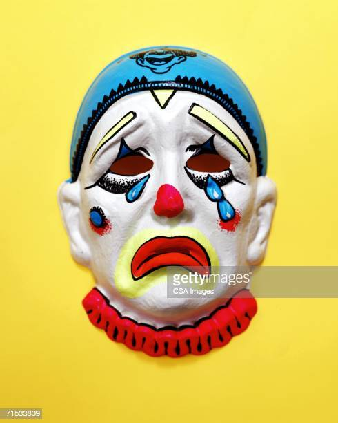 mask of a sad clown - sad clown stock photos and pictures