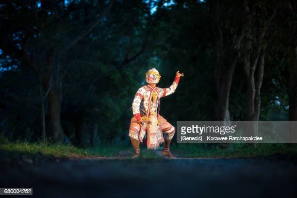 Mask of Hanuman from Khon Dancing at the public area in Chonburi