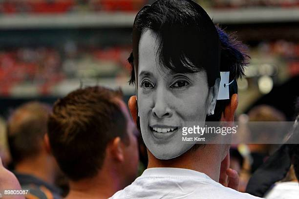 Mask of imprisoned Burmese leader Aung San Suu Kyi were given out to the audience as U2 perform their 360 Degrees world tour show at Wembley Stadium...