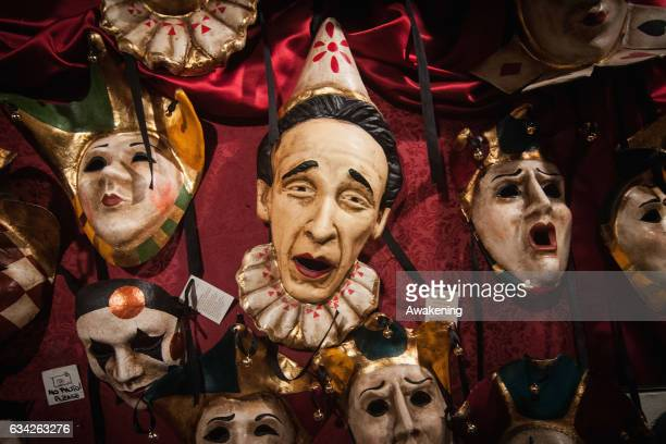 A mask of Roberto Benigni is displayed at La Bottega dei Mascareri which created the masks of the movie 'Eyes Wide Shut' of Stanley Kubrick on...