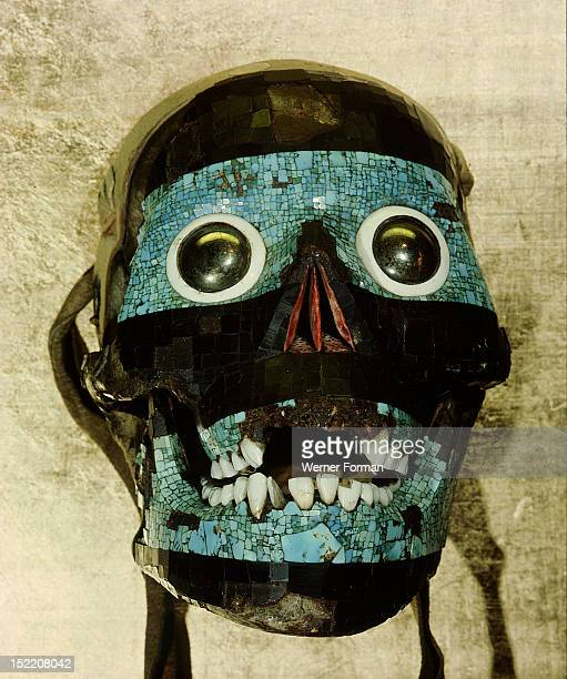 Mask of Tezcatlipoca the Smoking Mirror Formed of turquoise and lignite mosaic set over a human skull Mexico Mixtec / Aztec c 1500
