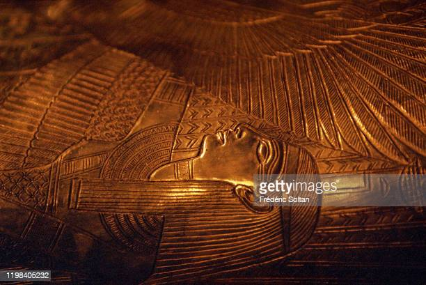 Mask of Tutankhamun's mummy at the Museum of Egyptian Antiquities in Cairo, Egypt.