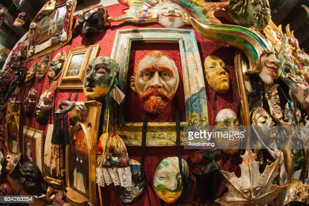 A mask of Van Gogh is displayed at La Bottega dei Mascareri which created the masks of the movie 'Eyes Wide Shut' of Stanley Kubrick on February 8...