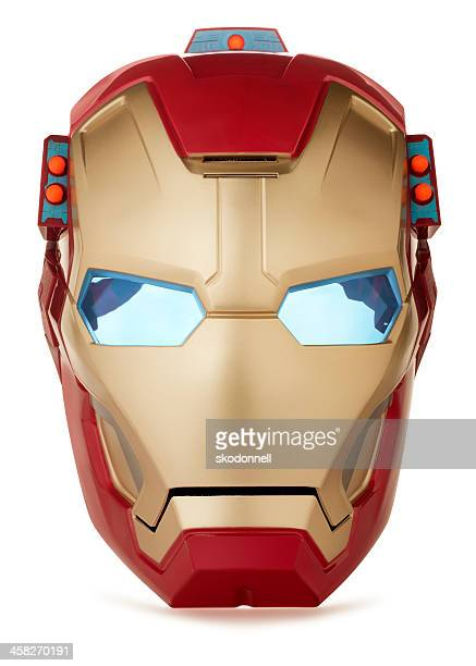 iron man mask on white - cartoon halloween stock photos and pictures