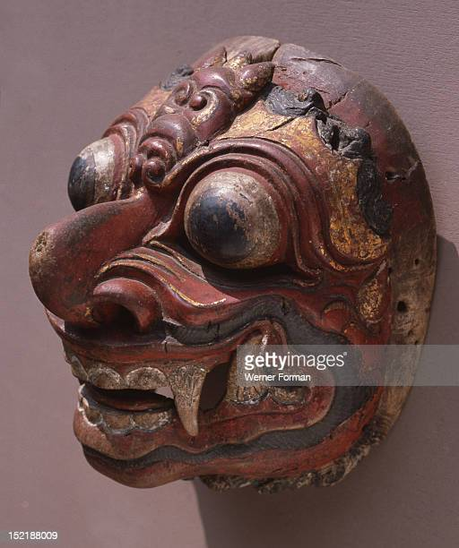 A mask representing a demon used in wayang wong performances of the Hindu epics especially the Ramayana Indonesia Balinese 1982 Bali