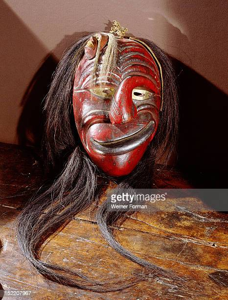 A mask used as a powerful element in ceremonies of the False Face medicine society to help appease spirits USA Iroquois Northeast Woodlands