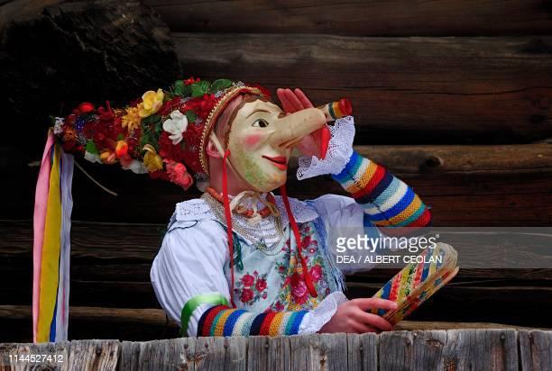 Masked Bufon , Ladin Carnival, Alpine folklore, Canazei, Fassa Valley, Trentino-Alto Adige, Italy.