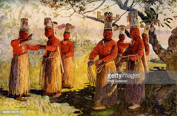 Masked dancers of Opaina River Apaporis Brazil A print from Customs of the World Volume II Hutchinson and Co Paternoster Row London