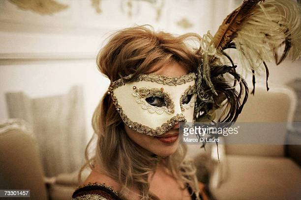 A masked guest attends the 'Ridotto' party organized by the Club Culturale Italiano at the Hotel Monaco during the Carnival on February 10 2007 in...