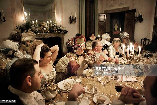 Masked guests attend the La serva padrona di Pergolesi party organized by Nicolas and JBenedicte Arnita at Ca'Zanardi Palace during the Carnival on...
