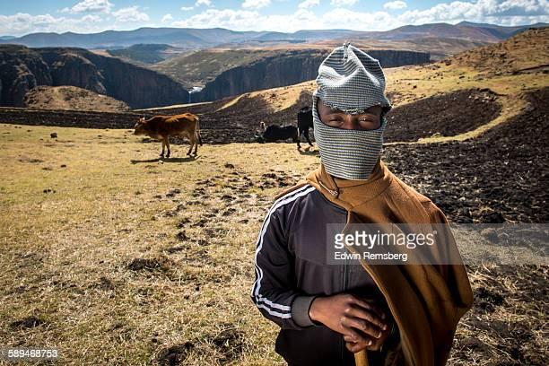 masked herdsman - lesoto fotografías e imágenes de stock