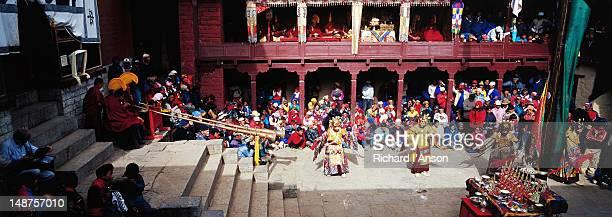 masked lama dance, mani rimdu festival, tengboche monastery. - mani rimdu festival stock pictures, royalty-free photos & images