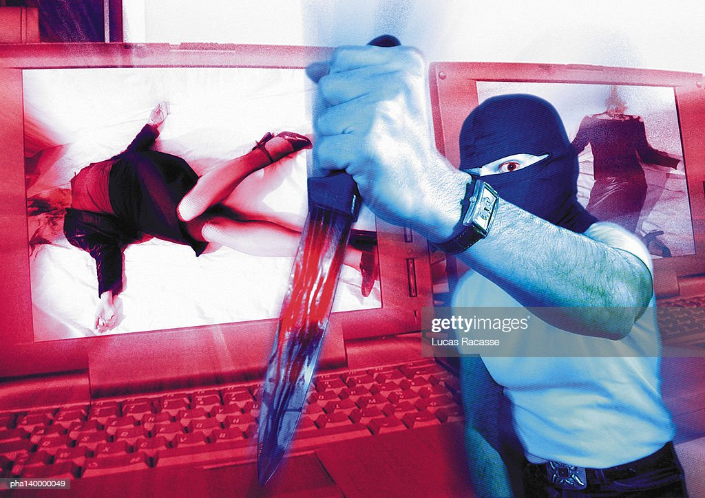 Masked man holding dagger, laptops with murder victims on screen in background, digital composite. : Stockfoto