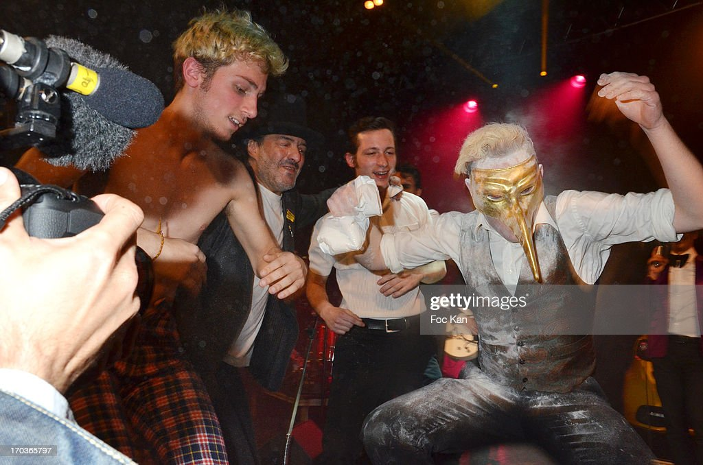 A masked member of La Femme band performs during the 'Battle Rock' Party At The Trianon Theatre on June 11, 2013 in Paris, France.