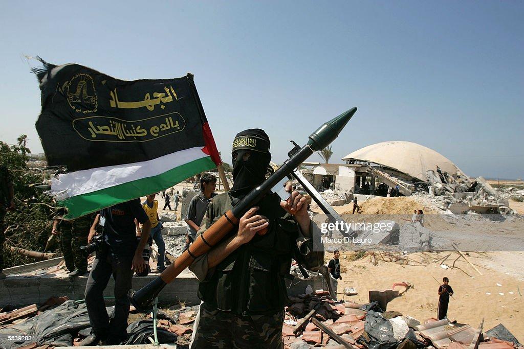 Members Of Islamic Jihad Gather In Former Israeli Settlement : News Photo