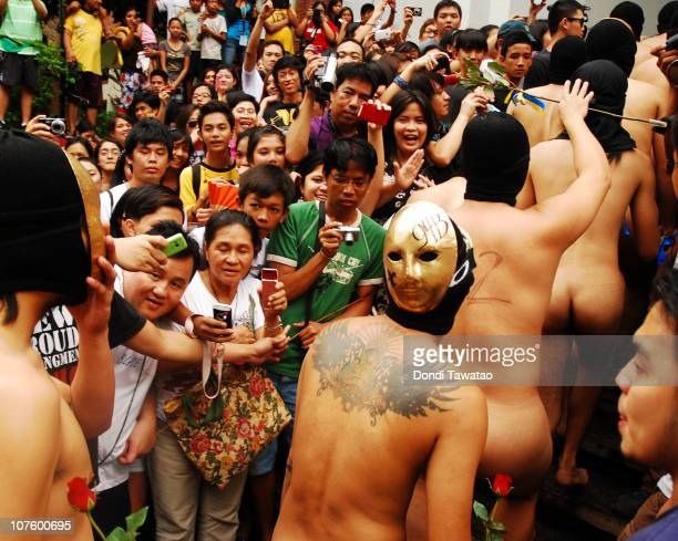 filipino fraternity members hold traditional oblation run in quezon