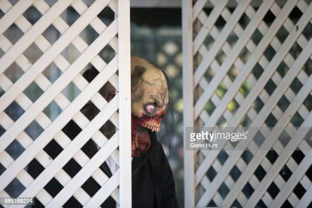 A masked occupant of Schappelle Corby's mother's house in Loganlea on May 28 2017 in Brisbane Australia Schapelle Corby was arrested in 2004 for...