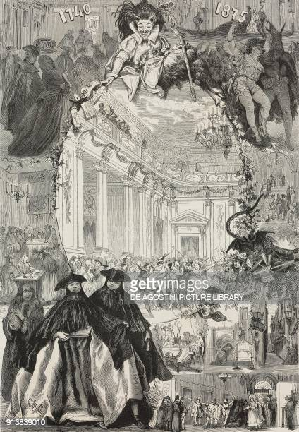 Masked people in the San Moise foyer during the Carnival of Venice Italy illustration after a drawing by G Stella from the magazine L'Illustrazione...
