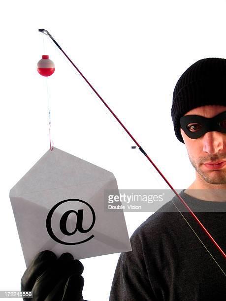 Masked Phisherman Holds Fishing Pole and Bait Envelope with @-Symbol