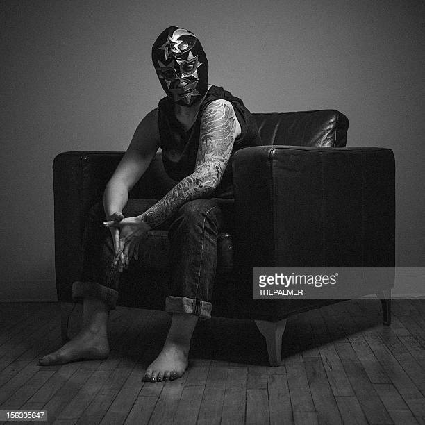 masked woman with tattoos - face guard sport stock pictures, royalty-free photos & images